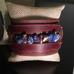 Jewelry - The Jewelry Junkie- Blue Gemstone Leather Cuff